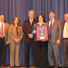 On behalf of the VMN program, Susan Powell, the first Virginia Master Naturalist volunteer to complete 2500 service hours, accepts the Governor's Award for Environmental Excellence at the Environment Virginia conference.  <br /> From left: Doug Domenech (Secretary of Natural Resources for the Commonwealth of Virginia), Carol Heiser (Virginia Department of Game and Inland Fisheries and Virginia Master Naturalist program Steering Committee), David Whitehurst (Virginia Department of Game and Inland Fisheries and Virginia Master Naturalist program Executive Committee), Susan Powell (Virginia Master Naturalist volunteer, Historic Rivers Chapter), David Paylor (Director, Virginia Department of Environmental Quality), David Johnson (Director, Virginia Department of Conservation and Recreation)