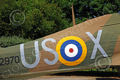 BRAFWWIIT 00024 The British national roundel and squadron letters on the side of a Hawker Hurricane WWII era British fighter plane, by Peter J Mancus