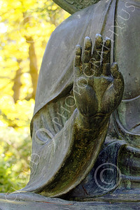STY - BUDDHA 00025 A Buddha statue's raised right hand, by Peter J Mancus
