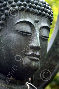 STY - BUDDHA 00001 A tight vertical crop study of the face of a Buddha statue, by Peter J Mancus