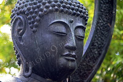 STY - BUDDHA 00006 A tight horizontal crop study of the face of a Buddha statue, by Peter J Mancus