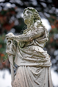 CemStat 00019 Cemetary statuary - Female figure leans on an anchor, by Peter J Mancus