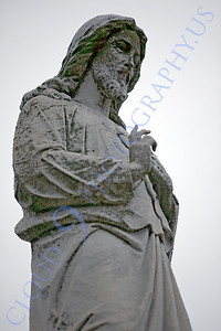 CemStat 00081 Cemetary statuary - An adult male figure in a peaceful pose, by Peter J Mancus