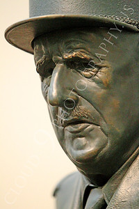 STY - de Gaulle 00005 An extreme tight crop portrait of a statuary impression of French general and statesman Charles de Gaulle, by Peter J Mancus