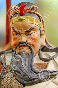 STY-CHIN 00019 Face of a fierce looking bearded Chinese warrior, statue picture by Peter J Mancus