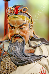 STY-CHIN 00001 Face of a fierce looking bearded Chinese warrior, statue picture by Peter J Mancus