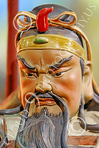STY-CHIN 00051 Face of a fierce looking bearded Chinese warrior, statue picture by Peter J Mancus