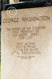 STY - GWASHINGTON 00011 Biographical information on a statue tribute to the first US president, George Washington, by Peter J Mancus