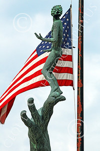 STY - HOG 00003 The Hand of God statue with the US flag, by Peter J Mancus