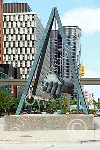 STY-JLBP 00001 A celebration of heavyweight boxing champion Joe Lewis' fist-Black Power, in Detroit, statue picture by Peter J Mancus