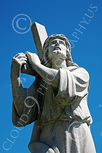 Sty-JesusCross 00007 A wonderful statuary depiction of Jesus Christ burdened with the cross, statue picture by Peter J Mancus