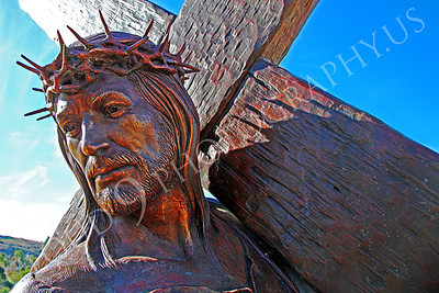 SpMis 00228 Jesus with his death cross, statuary at Mission San Louis Rey, by Peter J Mancus
