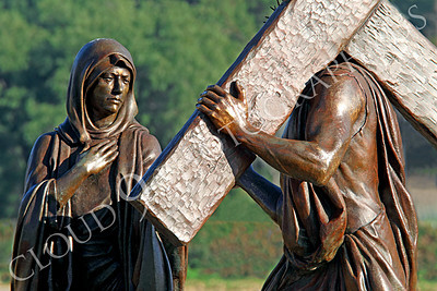 SpMis 00254 Jesus' mother encounters her son carrying his crucifiction cross, statuary at Mission San Louis Rey, by Peter J Mancus