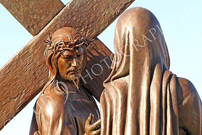 SpMis 00224 Jesus and his mother reach out to each other, statuary at Mission San Louis Rey, by Peter J Mancus
