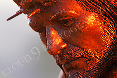SpMis 00282 A close up of Jesus' face and head with a crown of thorns on top, statuary at Mission San Louis Rey, by Peter J Mancus