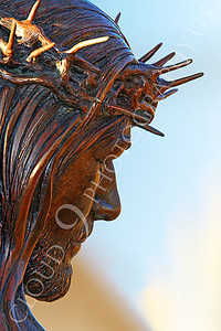 SpMis 00243 Jesus' head with a crown of thorns, statuary at Mission San Louis Rey, by Peter J Mancus