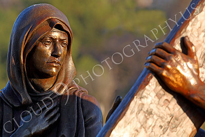 SpMis 00158 Anguish--Mary, Mother of Jesus, looks at her son carrying his crucification cross, statuary at Mission San Louis Rey, by Peter J Mancus