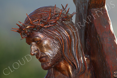 SpMis 00262 Jesus holding his crucification cross, statuary at Mission San Louis Rey, by Peter J Mancus