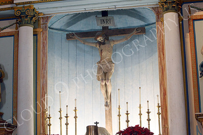 SpMis 00272 An artistic representation of a crucified Jesus Christ above the altar at Mission San Louis Rey, by Peter J Mancus