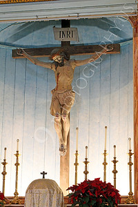 SpMis 00191 An artistic representation of a crucified Jesus Christ above the altar at Mission San Louis Rey, by Peter J Mancus