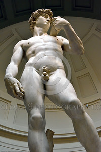 "STY-David 027 An impressive ""look up to"" view of Michelangelo's masterful 14 feet tall statue of Biblical hero ""David"", slayer of Goliath the giant, statue picture by Peter J  Mancus"