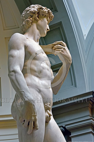"""STY-David 037 A side view of Michelangelo's statue of Biblical hero """"David"""", slayer of Goliath the giant, statue picture by Peter J  Mancus"""