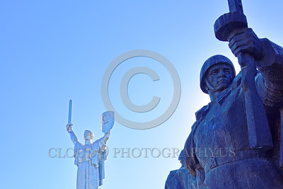 """STY-Motherland 0024 The """"Mother Motherland"""" statue in Kiev, Ukraine, with raised sword and Soviet Army World War II era soldier with raised machine gun, picture by Peter J  Mancus"""