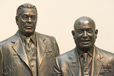 STY - Khrushchev 00007 Two communist Soviet Union Cold War era dictators, Leonid Brezhnev and Nikita Khruschchev, with medals on their chest, by Peter J Mancus