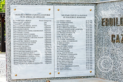 STY-RomMil 00016 In memory and honor of Romania's military heroes who died on duty, at base of an impressive statue in Bucharest, picture by Peter J Mancus