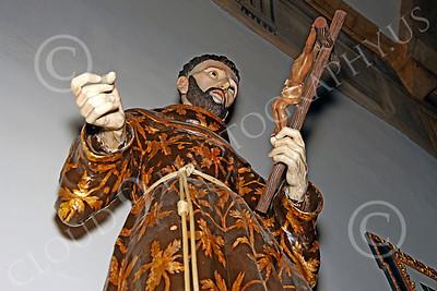 SpMis 00039 A Spanish Franciscan friar chapel wall figurine at Spanish Mission Carmel, by Peter J Mancus