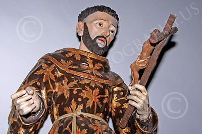 SpMis 00108 Spanish Franciscan friar wood carving in chapel at Spanish Mission Carmel, by Peter J Mancus