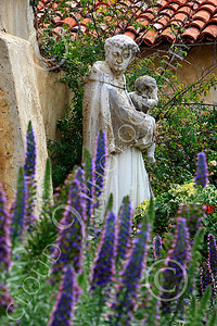 SMRSTY 00015 A Franciscan priest holding an infant, at Mission Carmel, by Peter J Mancus