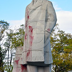 STY-VLenin 0013 A rare, surviving, Soviet era, unpopular in Odessa, Ukraine in 2015, large statue of revolutionary Russian communist party co-founder, dictator, and political-economic theori ...