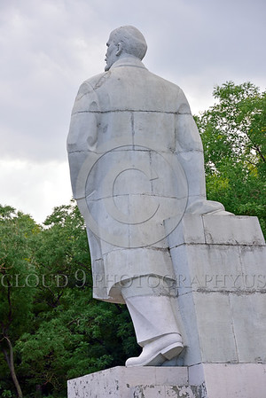 STY-VLenin 0009 Three-quarter rear view of an unpopular statue of Bolshevik leader Vladimir Lenin in Odessa, Ukraine, marked for destruction, statutory picture by Peter J  Mancus