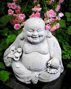 Buddha and Pink Flowers
