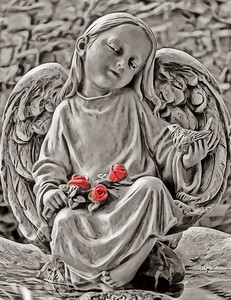 Angel with Roses and Bird
