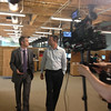 Corporate Video shoot with Sony F3 : July 26, 2012. Working on a promo piece for Qvidian at their Lowell, MA offices. Shooting with the Sony F3 on the Steadicam Flyer LE, which is also carrying two wireless mic receivers and a SmallHD DP4 monitor.  SolidLine Media produced, with Kevin Wright directing and Greg Vass acting as DP.