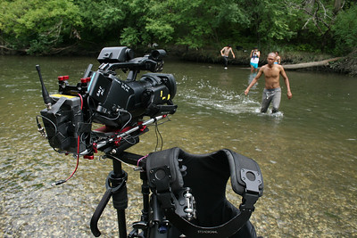 Sony EX1 on the Steadicam Flyer LE with a Zacuto Universal baseplate. For this shoot I placed the RF-Link's video transmitter at the top of the rig to keep it well clear of the splashing stream water. July 21, 2012.