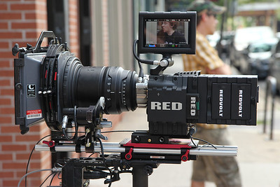 Red Epic with a Red Pro prime lens on the Steadicam EFP, with a Bartech remote focus and a Heden M26p motor mounted on a Zacuto Universal baseplate. July 30, 2012.