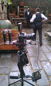 Canon 7D with a 17-55mm lens, on the Steadicam Flyer LE, sitting on Zacuto Universal baseplate via a Manfrotto 357 quick release. This was the configuration I used for wedding and event work in early 2012. The Lite Panel mounted atop the 7D would shortly be replaced with a Small HD DP4 monitor and the signal would be routed, via HDMI, to the Marshall Transflective monitor at the base of the rig. May 6, 2012.