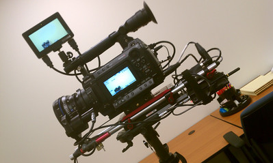 Sony F3 with CP2 prime lens on the Steadicam Flyer LE, with a Bartech remote focus and a Heden M26p lens motor mounted on a Zacuto Universal baseplate. July 9, 2012.