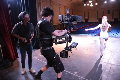 April 21, 2013. Red Epic on Steadicam EFP. Working on a short film, a DePaul University student project, at the Portage Theater in Chicago. Photo by Josh Tammaro.