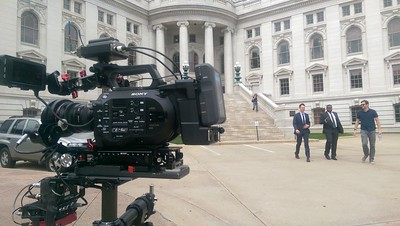 September 17, 2015. Shooting for The Daily Show in Madison, WI with a Sony FS7 on my Steadicam EFP.