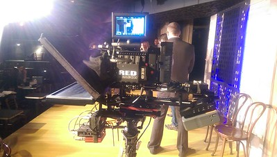 October 27, 2015. Red Dragon with full size teleprompter set up on my Steadicam EFP. Shooting for Second City Communications in Chicago. I think I could have trimmed a few pounds off this configuration with enough prep' time. But this worked... and the shoot stayed on schedule.