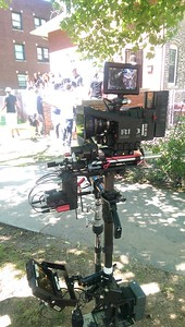 July 21, 2015. Red Dragon on Steadicam for a music video shoot on Chicago's south side. With improvised filter attachment.