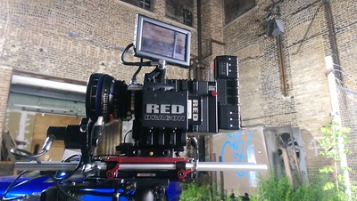 July 2, 2015. Red Dragon on Steadicam for a music video shoot in an alley on Chicago's west side.