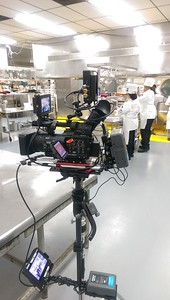 July 9, 2015. Panasonic HMC150 on a Steadicam Flyer LE  for a cooking competition at Naval Station Great Lakes. Attached is Terakek video transmitter for live switching and a Lanc cable for controlling focus, iris and zoom from the gimbal handle.