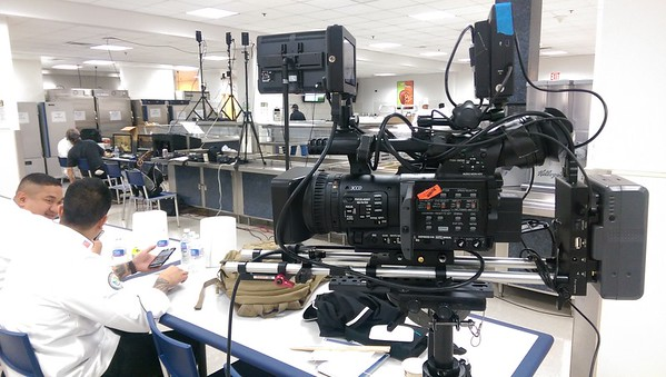 July 14, 2016. Panasonic HMC150 on a Steadicam Flyer LE  for a cooking competition at Naval Station Great Lakes. Attached is Terakek video transmitter for live switching and a Lanc cable for controlling focus, iris and zoom from the gimbal handle.