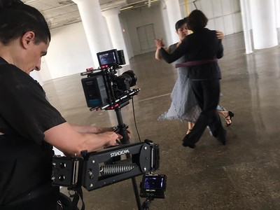 July 11, 2016. Operating with a Sony As7 on my Steadicam Flyer LE  for dance film in a Chicago warehouse. Photo by Dan Kullman.