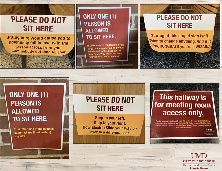 First: Funny Covid signs; University of Minnesota–Duluth